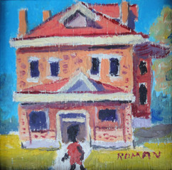 """""""House with Figure"""", c. 1950s-60s Signed lower right Oil on panel 4 x 3 inches P.O.R."""