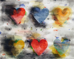 """Jim Dine """"Untitled (Hearts)"""", 1976 Graphite, watercolor and charcoal on paper 16 x 20 inches"""