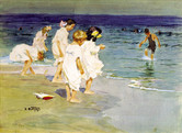 """Edward Potthast """"Children Playing at the Beach"""", c. 1915-20 Watercolor 14 x 20 inches Signed lower left: E. Potthast"""