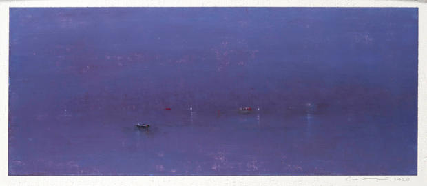 Eric Barth 'Moonless', 2020  Oil pastel and soft pastel on paper 3 1/2 x 8 1/2 inches  Sold