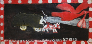 William Hawkins 'Hurry Call' c.1982 Enamel with cornmeal on panel. 24 x 47 1/2 inches