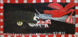 William Hawkins 'Hurry Call' c.1982 Enamel with cornmeal on panel. 24 x 47 1/2 inches Contact gallery for price.