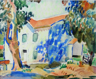 """""""Sunlit House"""", c. 1915-20 Watercolor on paper 5 x 6 inches Signed lower right: A. Schille P.O.R."""
