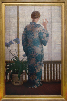 """James R. Hopkins """"The Bamboo Screen"""", c. 1912 Oil on canvas 51 3/8 x 32 inches Signed lower left: James R. Hopkins"""