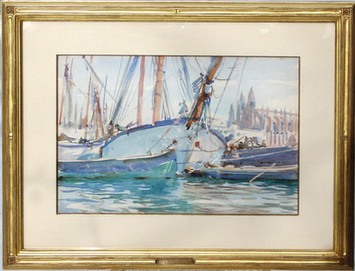 """""""Shipping, Majorca"""", 1908 Watercolor 11 1/2 x 17 1/2 inches Sold"""