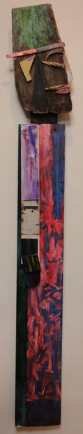 Tamara Jaeger 'My Voodoo Man', 1998 Mixed media assemblage 65 x 14 x 1 inches     $3,500