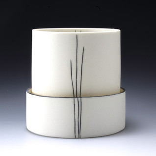 Carol Snyder (Contemporary) 'Small Tree', 2021 Wheelthrown porcelain  incised, inlaid linework 4 x 4 inches  $400