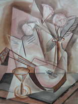 """Still Life with Lute and Cocktail Glass, 1932 Watercolor on paper 24 x 18 inches Signed lower right"""" """"Grace Martin 1932""""  Sold"""