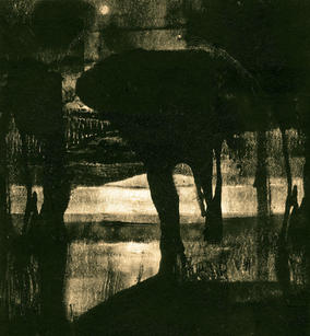 """Alice Carpenter  """"August Sturgeon Moon"""", 2020 Monotype- relief ink on paper 4 5/8  x 4 ¾ inches $625"""