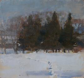 Neil Riley 'Winter Cedars' Oil on panel 6 1/2 x 6 3/4 inches  $850