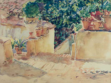 """John Singer Sargent """"On the Terrace"""", 1908-1910 Watercolor on paper 15 1/4 x 20 inches Signed lower left: John S. Sargent"""