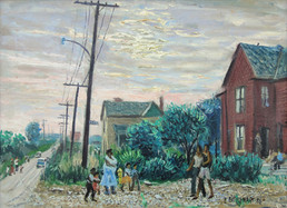 """""""Street Scenewith African American Mother and Children"""", c. 1956 Oil on canvas 24 x 30 inches P.O.R."""