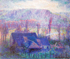 """Theodore Butler """"Cottage at Giverny"""", 1907 Oil on canvas 23 1/2 x 28 1/2 inches signed and dated lower right: T.E. Butler 07"""