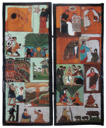 """Elijah Pierce """"Bible Stories"""", c. 1936 Painted bas relief woodcarving 58 1/4 x 23 1/4 inches (per panel)"""