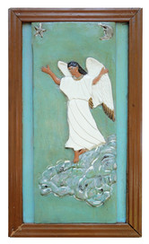 """Elijah Pierce """"Angel (Angel of Annunciation)"""", c. 1933 Painted bas relief woodcarving 26 7/8 x 15 3/4 inches"""