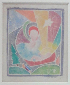 Madonna With Star Grace Martin Taylor c. 1930's Color Woodcut Image Size: 4 x 3 1/4 inches  $2,500.00