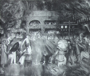 """""""The Tournament"""", c. 1921 Lithograph 14 3/4 x 18 1/8 inches"""