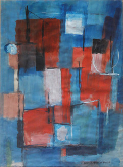 """Action in Blue, c. 1960's Grace Martin Taylor Acrylic on paper 31 x 25 inches Signed """" Grace Martin Taylor' lower right.  $4,500.00"""
