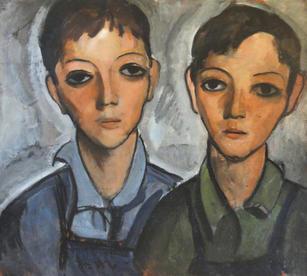 "Lucius Kutchin (1901-1936) ""Two Boys"", circa 1930-35  Oil on board 18 x 20 inches  P.O.R."