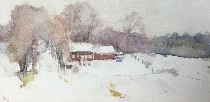 """Neil Riley """"Churchill Road, Cabot"""", 2017 Watercolor on paper 8 1/4 x 4 inches  $800"""