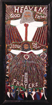 """Elijah Pierce """"The Power of Prayer"""", 1960 Painted bas relief woodcarving 40 5/8 x 19 5/8 inches"""