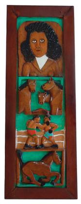 "Elijah Pierce ""Horse Racing"", 1928 Painted bas relief woodcarving 24 x 8 3/4 inches Gallery labels verso: Bernard Danenberg Galleries; Janet Fleisher Gallery"