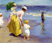 """Edward Potthast """"At the Beach"""", c. 1915-1920 Oil on canvas 16 1/4 x 20 1/4 inches Signed lower left: E. Potthast"""