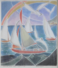 """Sails & Gulls, 1930/85 White-line woodblock print Edition 3/25 14.5 x 12.25 inches Block cut 1930 Titled, numbered, signed """"Grace Martin"""" and dated along bottom.  $6,000.00"""