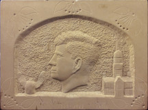 """""""Kennedy Memorial Plaque"""" c. 1970-75 Carved sandstone 12 x 16 x 1 1/4 inchdes P.O.R."""