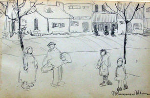 """Ray Kinsman-Waters (1887-1962) """"Street Scene"""", c. 1919 Drawing 5 1/4 x 8 inches Signed lower right: Ray Kinsman-Waters  P.O.R."""