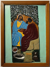 """Elijah Pierce """"Christ's (Jesus') Charge to peter: Feed My Sheep"""", 1932 Painted bas relief woodcarving mounted on painted board 33 3/16 x 24 1/4 inches"""