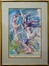"""""""Weeping Willows"""", 1955 Casein 20 x 15 inches  P.O.R."""