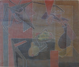 Still Life with Skull Grace Martin Taylor Woodblock/ Side 2 Block cut 1939 12 x 13 3/4 inches  Side 1 of this Woodblock: Southern Home  $3,000.00 On Hold