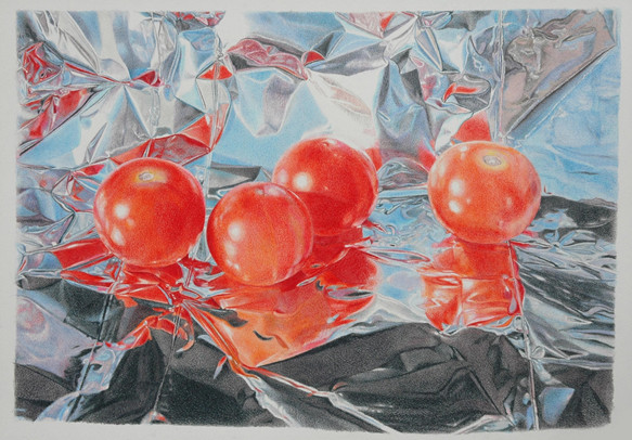 """Lowell Tolstedt """"Composition with Cherry Tomatoes"""", 2006 Color pencil 9 x 13 inches    $4,700"""