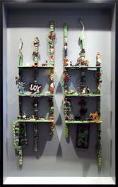 """Elijah Pierce """"Joy"""", c. 1930 Two carved and painted wood assemblages 66 x 18 x 4 inches"""