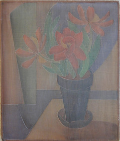 Flowers in Window (Tulips) Grace Martin Taylor Woodblock/ Side 1 Block cut 1925 13 7/8 x 12 inches Private Collection  Side 2 of this Woodblock: Monongahela (Monongahela River)  Sold