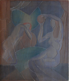 Star Gazing  (Nudes, Moon Glow) Grace Martin Taylor Woodblock/ Side 2 Block cut 1928 13 3/4 x 12 inches  Side 1 of this Woodblock: Sails and Gulls  Block cut 1930 13 3/4 x 12 inches  $4,500.00