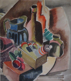 """Still Life with Pitcher and Paint, 1935 Grace Martin Taylor Watercolor 18 3/4 x 16 inches Signed and dated """"Grace Martin Frame 1935"""" lower right.  $4,500.00"""