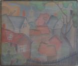 """""""Provincetown Housetops"""" Woodblock/ Side 2 Block cut 1935 12 x 13 3/4 inches  Side 1 of this Woodblock: """"Japanese Vase""""  Sold"""