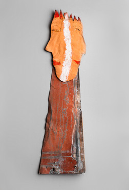 """Tamara Jaeger """"King/Queen"""", c.1990, Ceramic, found metal and paint  18 1/2 x 5 1/2 x 1/2 inches  $1,200"""