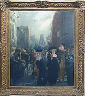"John French Sloan ""Fifth Avenue Critics"", Oil on canvas"