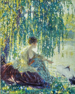 """James R. Hopkins (1877-1969) """"Weeping Willows"""", circa 1910-14  Oil on canvas 40 x 32 inches Signed lower left: James R. Hopkins   P.O.R."""