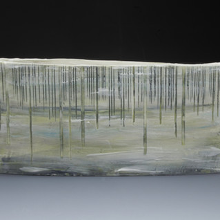 Carol Snyder (Contemporary) 'Heron Rookery', 2021 Wheelthrown, altered porcelain, incised, inlaid linework, colored porcelain slip  $600