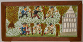 """Elijah Pierce """"Nixon Being Chased from the White House"""", 1975 Painted bas relief woodcarving 14 1/2 x 29 1/4 inches"""