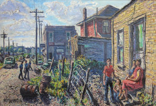 """Emerson Burkhart (1905-1969) """"Street Scene, Near East Side (Young Boy)"""", 1956  Oil on canvas 22 x 32 inches Signed lower left: Burkhart 56 and on verso: EB Sept 56: Dated Sept. 1 1956 EB on verso   Sold"""