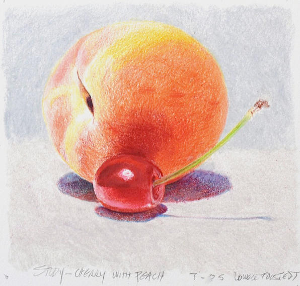 Lowell Tolstedt 'Study - Cherry with Peach', 2005 Colored pencil 4 1/2 x 4 3/4 inches  $1,450
