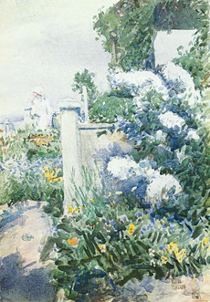 """""""Garden by the Sea, Isles of Shoals"""", c. 1892 Watercolor 14 x 10 inches P.O,R."""