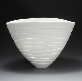 Carol Snyder (Contemporary) 'Erode', 2021  Wheel thrown, altered, hand carved high fired porcelain 5 1/2  x 8w x 5 1/2d inches  $1,500