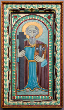 """John Perates """"St. Andrew"""", c. 1938 Enamel on wood relief carving 49 1/2 x 28 inches"""