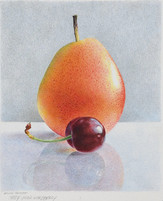 """Lowell Tolstedt """"Study - Pear with Cherry"""", 1998 Colored pencil 6 7/8 x 5 5/8 inches  $2,450"""